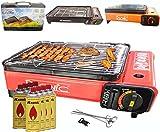 Camping BBQ Gasgrill Gasbräter Grill Tragbar Barbecue Tischgrill inkl. Grillplatte Grillaufsatz