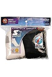 Starter Men's 10 Pair Low Cut Socks (5 White & 5 Black) - Fits Sizes 6-12
