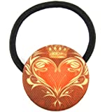 Golden Yellow Sunset Red Brown Royal Crown Heart Crest Printed Silk Screen Woven Fabric Covered Button Hair Elastic