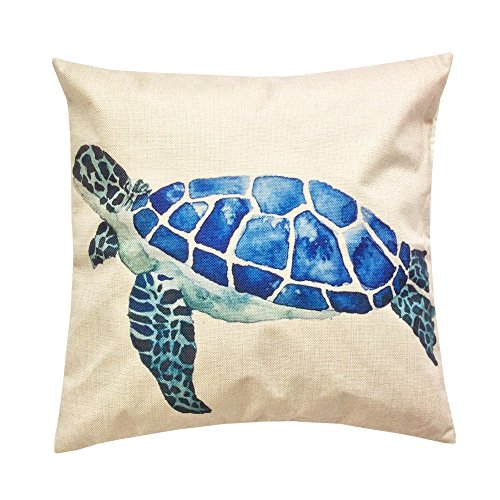 Monkeysell Mediterranean styleThe turtle design pillowcases Home decoration Cotton linen square decoration fashion the pillowcase - 18