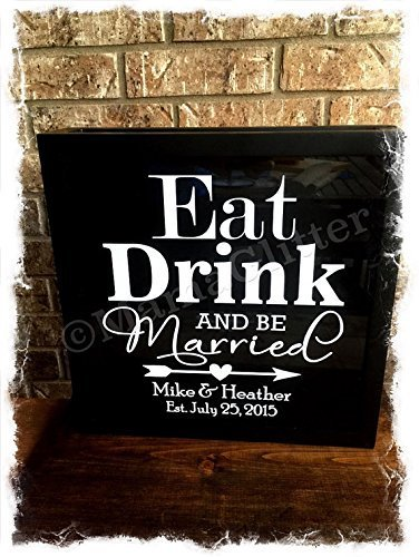 Eat Drink And Be Married- Whimsical Arrow Version- Wine cork holder can be used as a alternative guest book, great wedding gift