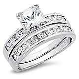 Sterling Silver Cubic Zirconia 2.8 Carat tw Princess Cut CZ Wedding Engagement Ring Set Sz 12
