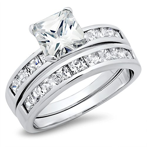 Sterling Silver Cubic Zirconia 2.8 Carat tw Princess Cut CZ Wedding Engagement Ring Set
