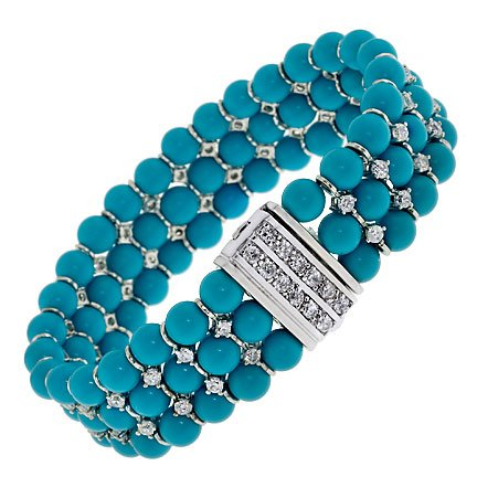 Turquoise Beads Trendy C.Z. Diamonds Bracelets (Nice Holiday Gift, Special Black Firday Sale)