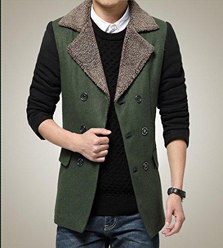 YCMDM uomini giacca invernale cantieri di grandi dimensioni in cotone, Lamb Collare Slim Doppio - Cappotto , green , m