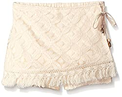 My Michelle Big Girls Wrap All Over Crochet Short with Drawstring and Fringe Detail At Hem, Natural/Natural, Small