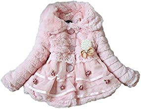 KobwaTM Cute Pearl Bow Coral Fleece Coat Girls Winter Outerwear with Keyring