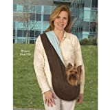 East Side Collection Polyester Reversible Sling Pet Carrier, Brown/Pink