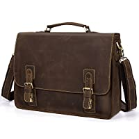"Kattee Vintage Genuine Leather Briefcase Messenger Bag, Fit 16"" Laptop by Kattee"