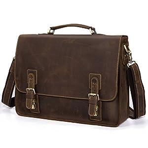"""Kattee Vintage Genuine Leather Briefcase Messenger Bag, Fit 16"""" Laptop by Kattee"""