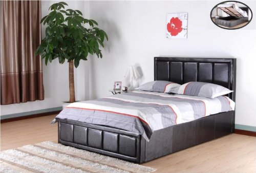 56a37878dc10 Brown 4ft6 double faux leather gas lift up ottoman storage bed with a thick  padded headboard