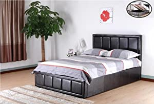 Brown 4ft6 double faux leather gas lift up ottoman storage bed with a thick padded headboard By Bedsandbeds