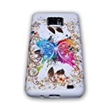 Handycop TPU Silicone Phone Case for Samsung I9100 Galaxy S2 with Butterfly Design with Golden Border