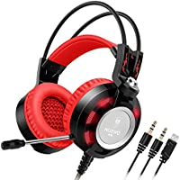 Nubwo K6 Headset, Stereo Over Ear Gaming Headphones With Microphone LED Lighting For Pc (Black/red)