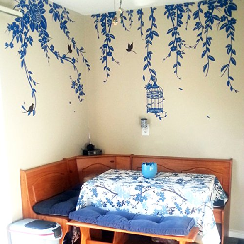 Pop Decors Removable Vinyl Art Wall Decals Mural, Elegant Leaves and Bird Cage with Flying Birds