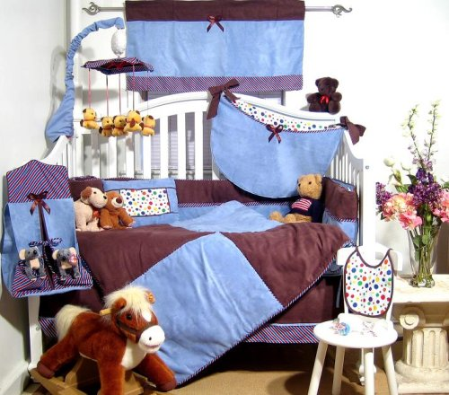 Sky Blue & Brown Suede Baby Crib Nursery Bedding SET 10pcs