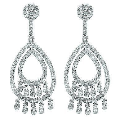 J R Jewellery 438280 Sterling Silver Rhodium Plated Cubic Zirconia Chandelier Drop Earrings 15 grams