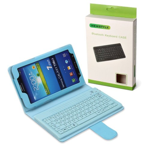"Newstyle Light Blue Wireless Bluetooth Silicone Keyboard Pu Leather Tablet Stand Case For Samsung Galaxy Tab 3 7.0 Inch 7"" T210 T211 P3200 P3210 Tablet front-214055"