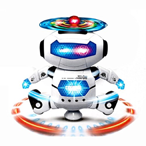 Robot Toys,Music Toys, Dancing Toys,Electronic Walking Dancing Smart Space Robot Astronaut KidsLight Toys by Sunfei (White)