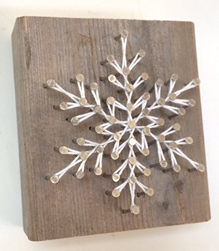 Rustic snowflake string art wooden block - A unique gift for Birthdays, Christmas, Weddings, Anniversaries and House Warming gifts, Perfect for ski cabins.