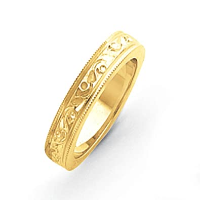 14ct Gold fancy wedding Band Ring - Size S 1/2