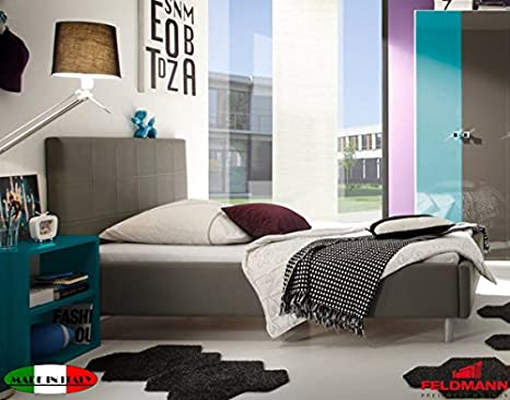 Polsterbett Bett mit Kopfteil 55005 anthrazit Kunstleder 140x200cm