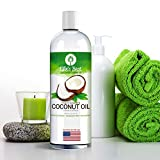 Fractionated Coconut Oil - 100% Pure - Carrier Oil for Essential Oils Aromatherapy & Massage - Therapeutic Grade - USA Bottled - Lg 16oz - Pump Dispenser Cap & Recipes - Natural Moisturizer by Ellies Best