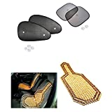 Car Auto Window Side Chipkoo Sunshade Curtains Set Of 4Pcs, Wooden Bead Seat Cover