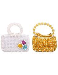 Virali Rao Women's Hand-held Bags Combo, Yellow, White