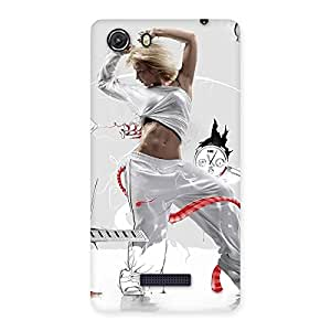 Gorgeous White Dance Red Ribbon Back Case Cover for Micromax Unite 3