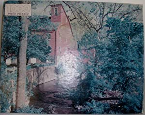 The Red Mill 1000 piece puzzle of Water Wheel mill by Golden