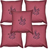 Indian Decorative Hand Block Print Work Cotton Handmade Cushion Cover Set 16 X 16 Inches