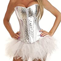 Goth Punk Rock Silver sequins PVC Corset With White Tutu Club Wear Basque Costumes
