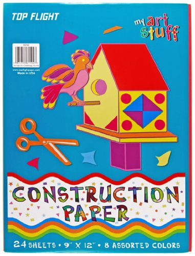 Top Flight Construction Paper, Assorted Colors, 9 x 12 Inches, 24 Sheets, Polywrapped (61104) - 1