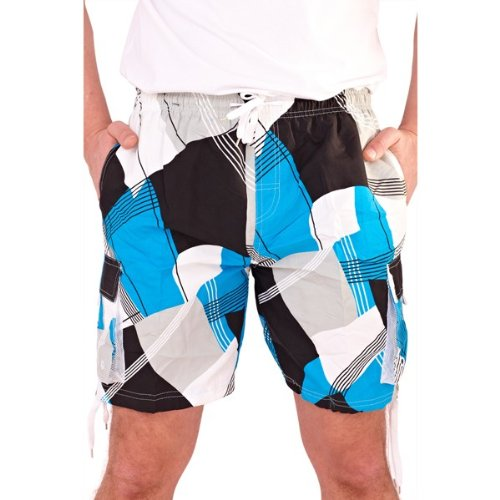 Mens Turquoise Multi Geometric Print Swimshorts With Full Net Lining And 2 Side Pockets - Extra Large
