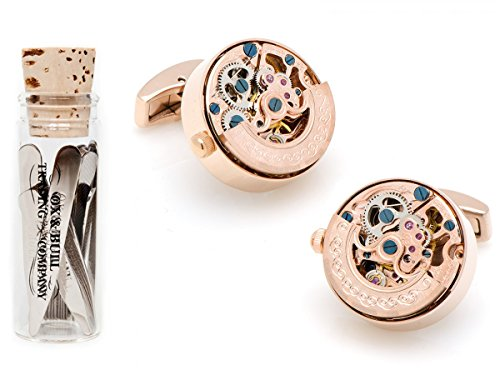 Rose Gold Kinetic Watch Movement Cufflinks With 12 Complimentary Collar Stays