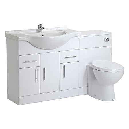 VeeBath Linx 1250 White Bathroom Set 750 Vanity with WC Unit, Round Pan, Cistern