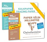 Clairefontaine pack of a pocket of graph paper and a pocket of tracing paper 21 x 297 mm