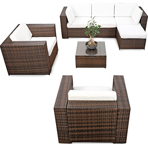 erweiterbares 21tlg lounge m bel polyrattan set xxl braun mix sitzgruppe garnitur. Black Bedroom Furniture Sets. Home Design Ideas