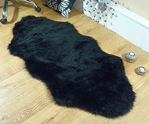 Black faux fur double sheepskin style rug 70 x 140 cm washable