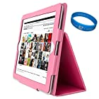Baby Pink Executive Leather Portfolio Case with Fold to Stand Feature for Apple iPad 4 NEWEST MODEL 9.7 Retina Display Tablet / New iPad 3rd Gen / Apple iPad 2 (16GB 32GB 64GB) fits all models + SumacLife TM Wisdom Courage Wristband