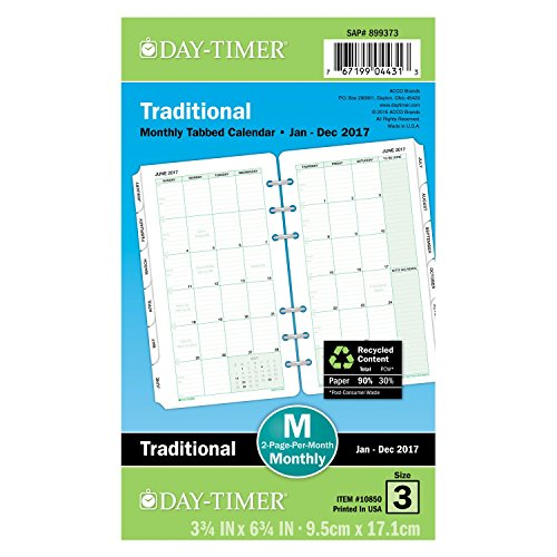 Day-Timer Tabbed Calendar Refill 2017, Two Page Per Month, Portable Size, 3-3/4 x 6-3/4