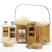 Spicy Warm Vanilla Spa Bath Body Bamboo Gift Basket from Furniture Creations