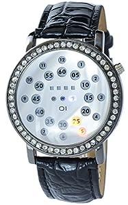 Noble Mens Binary Binary Metal Silver Black Leather Rhinestone watch Quartz Wristwatch