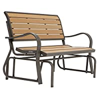 Lifetime Products Wood Grain Outdoor Glider Loveseat