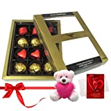 Attractive Treat Of Wrapped Chocolates With Teddy And Love Card - Chocholik Luxury Chocolates