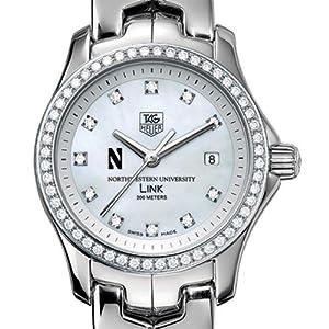 Northwestern University TAG Heuer Watch - Women's Link Watch with Diamond Bezel