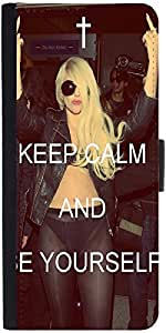 Snoogg Keep Calm And Be Yourself Graphic Snap On Hard Back Leather + Pc Flip ...