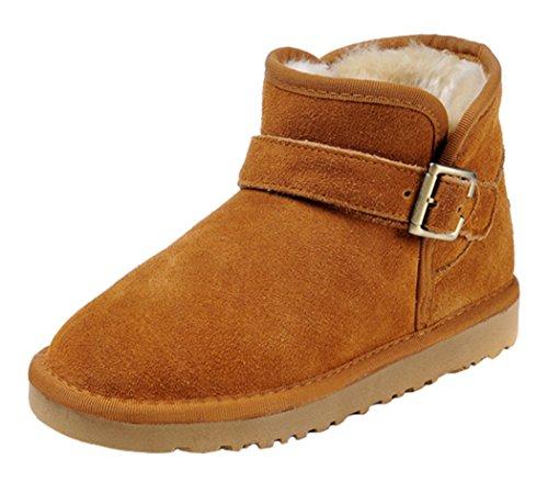 Milanao Men Winter Buckle Unisex Cowhide Ankle Snow Boots (9.5D(M)Us,Chestnut)