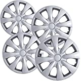 """OxGord Hubcaps for Toyota Corolla 2009-2016 Set of 4 Pack 15"""" Inch Silver Auto Wheel Covers, OEM Genuine Factory Aftermarket Replacement, ABS Plastic - Easy Snap On - Includes 5 Lug Nut Center Caps"""